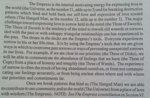An excerpt from the very interesting book The Tarot Handbook, by Angeles Arrien